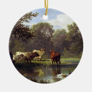 Cattle on the Pond Round Ceramic Decoration