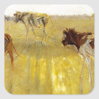 Cattle Seen Against the Sun on the Island of Salth Square Sticker