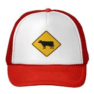Cattle Traffic, Traffic Warning Sign, USA Mesh Hats
