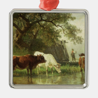 Cattle Watering in a River Landscape Christmas Ornament