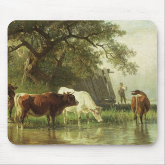 Cattle Watering in a River Landscape Mouse Mat