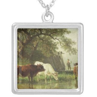 Cattle Watering in a River Landscape Silver Plated Necklace