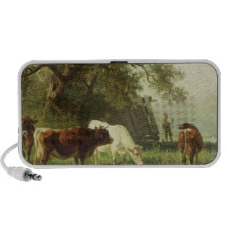 Cattle Watering in a River Landscape Notebook Speaker