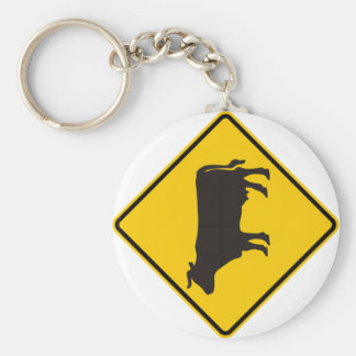 Cattle Zone Highway Sign Basic Round Button Key Ring