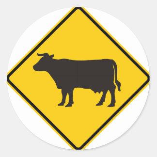 Cattle Zone Highway Sign Classic Round Sticker