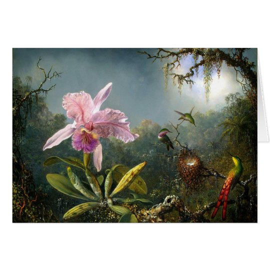 Cattleya Orchid and Three Brazilian Hummingbirds Card