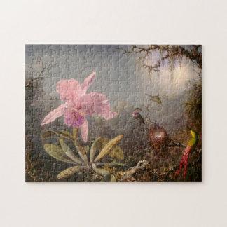 Cattleya Orchid and Three Hummingbirds Jigsaw Puzzle