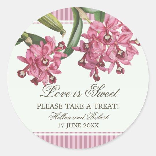 Cattleya Pink Orchid Wedding Favour Classic Round Sticker