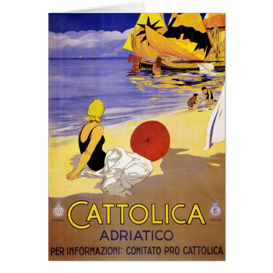 Cattolica Adriatico Italy Vintage Travel Poster Re Card