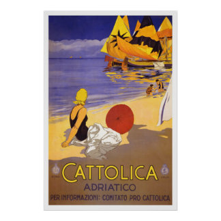 """""""Cattolica"""" Vintage Italian Travel Poster"""