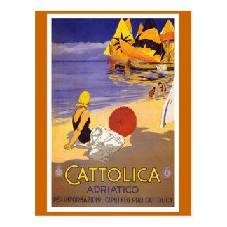 """Cattolica"" Vintage Italian Travel Poster Postcard"