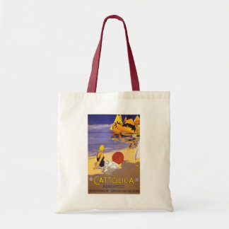 """""""Cattolica"""" Vintage Italian Travel Poster Budget Tote Bag"""