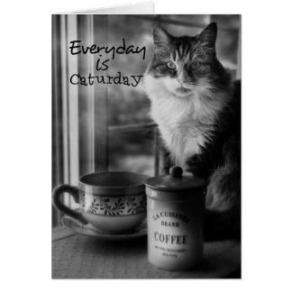 Caturday Coffee Note Card