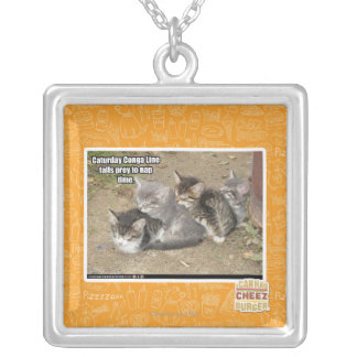 Caturday Conga Line Silver Plated Necklace