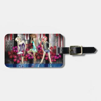 Catwalk Fashion Teenage Girls Funky Modern Art Luggage Tag