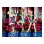 Catwalk Fashion Teenage Girls Funky Modern Art Postcard
