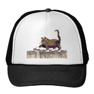 Catwalk - kitty walks on the fence Sumi-e Hat