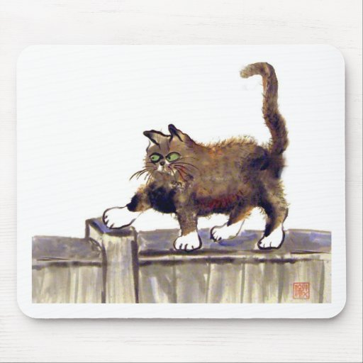 Catwalk - kitty walks on the fence, Sumi-e Mousepads