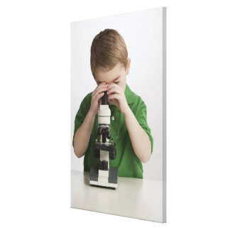 Caucasian boy peering into microscope canvas print