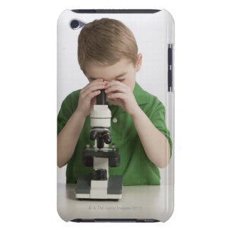 Caucasian boy peering into microscope iPod touch Case-Mate case