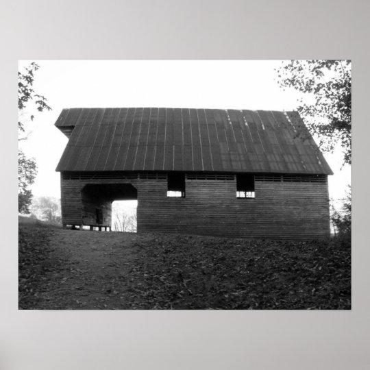 Caughron Barn, Cades Cove, b&w Poster