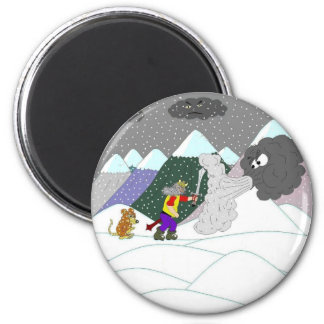 Caught in the blizzard 6 cm round magnet