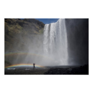 Caught in the Mist at Skógafoss Waterfall, Iceland Poster