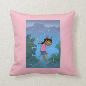 Caught in the Rain design reversible  cushion