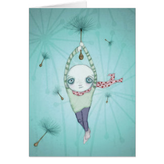 Caught on a breeze illustration greeting card