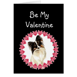 Cause I Woof Love You Papillon Valentine Greeting Card