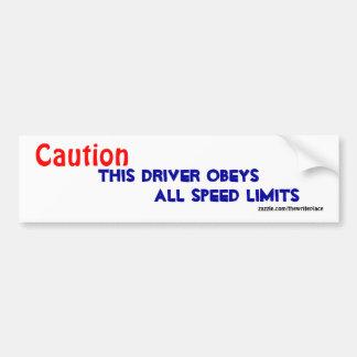 Caution accident bumper stickers
