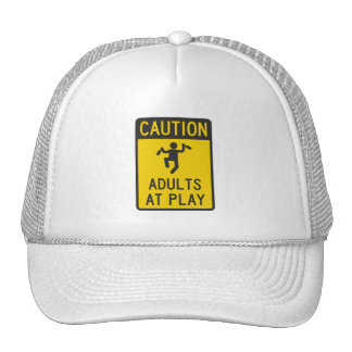 Caution Adults at Play Mesh Hat