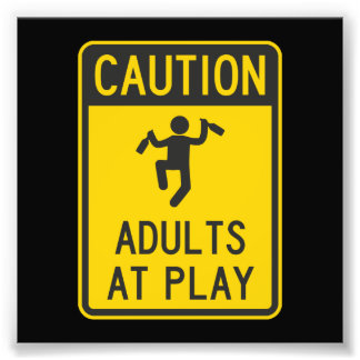 Caution Adults at Play Art Photo