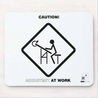 Caution Architect at Work Mouse Mat
