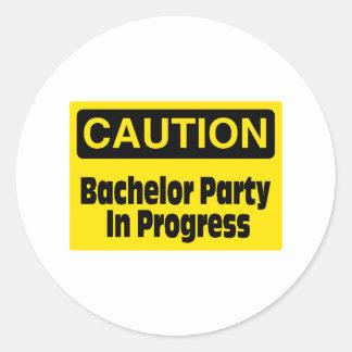 Caution Bachelor Party In Progress Round Sticker