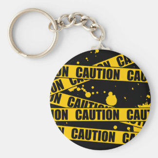 Caution! Basic Round Button Key Ring