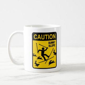 CAUTION: Bunny Slope - Funny Ski Warning Sign Basic White Mug