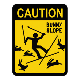 CAUTION: Bunny Slope - Funny Skier Warning Sign Card