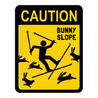 CAUTION: Bunny Slope - Funny Skier Warning Sign 11 Cm X 14 Cm Invitation Card