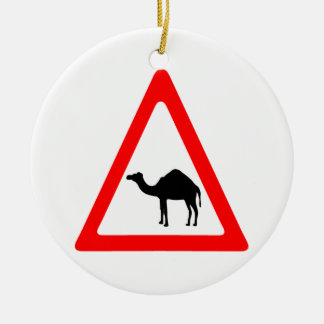 Caution Camel Crossing Traffic Sign Christmas Ornament