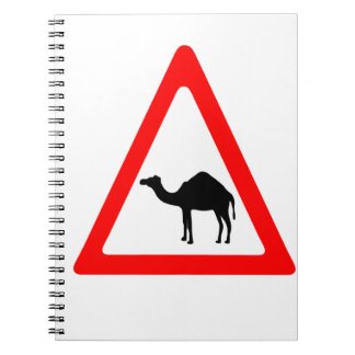 Caution Camel Crossing Traffic Sign Notebook