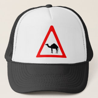 Caution Camel Crossing Traffic Sign Trucker Hat