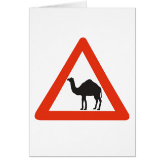 Caution Camels, Traffic Sign, United Arab Emirate Greeting Card