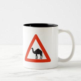Caution Camels, Traffic Sign, United Arab Emirate Two-Tone Mug