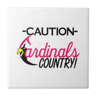 Caution Cardinals Small Square Tile