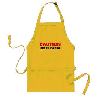 Caution chef in training apron