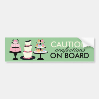 CAUTION: Confections on Board Bumper Stickers