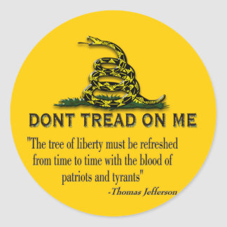 """CAUTION """"Don't Tread On Me"""" FLAG Round Stickers"""