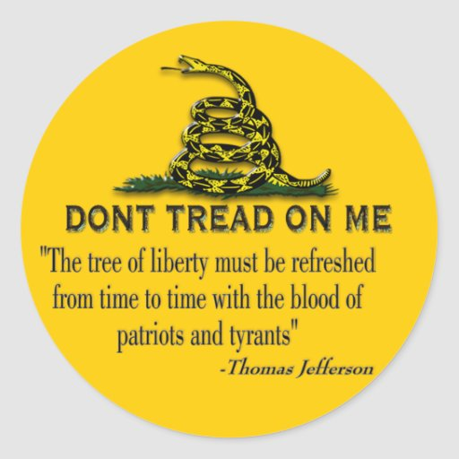 "CAUTION ""Don't Tread On Me"" FLAG Round Sticker"