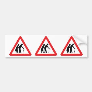 CAUTION Elderly People - UK Traffic Sign Bumper Sticker